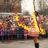 Orel Ryssland - mars 13, 2016: Maslenitsa pannkakafestival Royaltyfria Foton