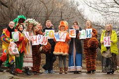 Orel Ryssland - mars 13, 2016: Maslenitsa pannkakafestival verkar Royaltyfri Foto