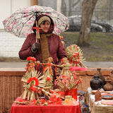 Orel Ryssland - mars 13, 2016: Maslenitsa pannkakafestival Wom Arkivfoto