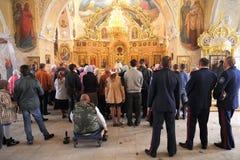 Orel Ryssland - September 13, 2015: Familjdag för ortodox kyrka D Arkivbilder
