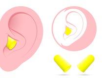 Orelha com pictograma do earplug ilustração royalty free