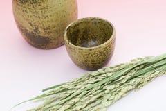 Orelha do arroz e frasco da causa Fotografia de Stock Royalty Free