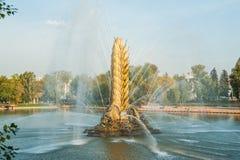 Orelha dourada do ` soviético legendário de Zolotoy Kolos do ` da fonte Moscovo, Rússia imagem de stock