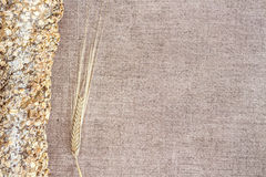 Orelha tradicional do pão inteiro e do trigo Foto de Stock
