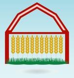 Orelhas do trigo, casa do celeiro Símbolo da colheita ilustração stock