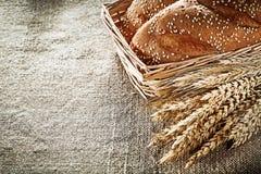 Orelhas do trigo do palito da cesta de vime no fundo de despedida Fotos de Stock