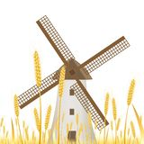 Orelhas do trigo em um fundo branco para a paisagem ilustração do vetor