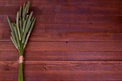 Orelhas do trigo em um fundo de madeira marrom Fotografia de Stock Royalty Free
