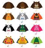 Orelhas dos desenhos animados do guarda-chuva ajustadas ilustração do vetor