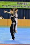Orenbourg, Russie, année des 26-27 mai 2017 : Les juniors concurrencent dans des acrobaties de sports Image stock