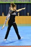 Orenbourg, Russie, année des 26-27 mai 2017 : Les juniors concurrencent dans des acrobaties de sports Image libre de droits