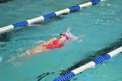Orenbourg, Russie - 13 novembre 2016 : Les filles concurrencent dans la natation sur le dos Photos stock