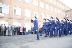 Orenburg. Cadets march. 2010. On a background - Bashkirs in national clothes Stock Images
