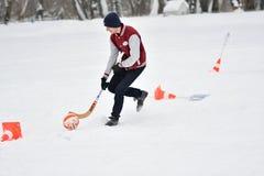 Orenburg, Rússia - 26 de janeiro de 2017 ano: Jogo dos estudantes nos jogos do inverno Fotografia de Stock Royalty Free