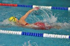Orenburg, Rússia - 13 de novembro de 2016: As meninas competem na natação do estilo livre Fotos de Stock