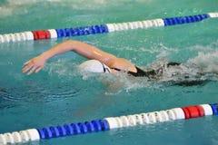Orenburg, Rússia - 13 de novembro de 2016: As meninas competem na natação do estilo livre Foto de Stock