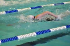 Orenburg, Rússia - 13 de novembro de 2016: As meninas competem na natação do estilo livre Imagem de Stock