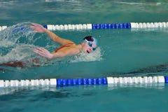 Orenburg, Rússia - 13 de novembro de 2016: As meninas competem no estilo da borboleta da natação Imagem de Stock Royalty Free
