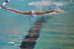 Orenburg, Rússia - 13 de novembro de 2016: Os meninos competem no estilo da borboleta da natação Fotos de Stock