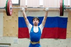 Orenburg, Rosja †'16 01 2016: Ciężkie atletyka współzawodniczą przeciw chłopiec Obrazy Stock