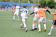 Orenburg, Rosja ï ¿ ½ 6 Czerwa 2017 rok: Chłopiec sztuki futbol Fotografia Stock