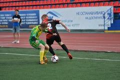 Orenburg, Rosja, 8 Czerwa 2017 rok: Mężczyzna sztuki piłka nożna Obrazy Stock