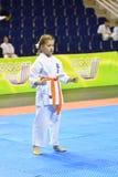 Orenburg Rosja, Marzec, - 5, 2017 rok: Dziewczyny współzawodniczą w karate Obrazy Stock