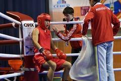 Orenburg Rosja, rok, - Stycznia 21, 2017: Chłopiec boksery współzawodniczą Fotografia Stock