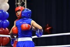 Orenburg Rosja, rok, - Stycznia 21, 2017: Chłopiec boksery współzawodniczą Fotografia Royalty Free