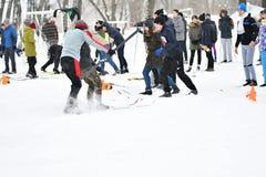Orenburg Rosja, rok, - Stycznia 26, 2017: Uczeń sztuka w zim grach Obrazy Stock