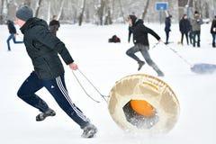 Orenburg Rosja, rok, - Stycznia 26, 2017: Uczeń sztuka w zim grach Zdjęcie Stock
