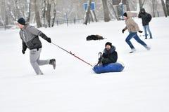 Orenburg Rosja, rok, - Stycznia 26, 2017: Uczeń sztuka w zim grach Fotografia Stock