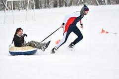 Orenburg Rosja, rok, - Stycznia 26, 2017: Uczeń sztuka w zim grach Zdjęcia Royalty Free