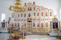 Orenburg, rosjanin Federation-2 Aprel 2019 ołtarz w Ortodoksalnym kościół zdjęcia stock