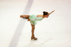Orenburg Rusia 26 03 2016: Figura patinador de las muchachas de las competencias Imagen de archivo