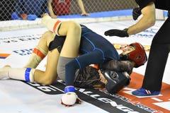 Orenburg, Rusland - Februari 18, het jaar van 2017: De vechters concurreren in gemengde vechtsporten Royalty-vrije Stock Fotografie