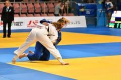 Orenburg, Rusland - 12-13 het jaar 2018 van Mei: De meisjes concurreren in Judo Stock Foto's