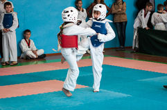 Orenburg, Russia - 23 April 2016: Taekwondo compete girls. Stock Images