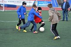 Orenburg, Russia-April 26, 2017 year: the boys play football Royalty Free Stock Photos