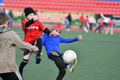 Orenburg, Russia-April 26, 2017 year: the boys play football Stock Images
