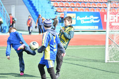 Orenburg, Russia-April 26, 2017 year: the boys play football Stock Photos