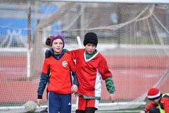 Orenburg, Russia-April 26, 2017 year: the boys play football Stock Image