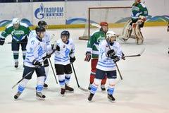 Orenburg, Russia - April 5, 2017 year: men play hockey Royalty Free Stock Photos