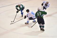Orenburg, Russia - April 5, 2017 year: men play hockey Royalty Free Stock Image
