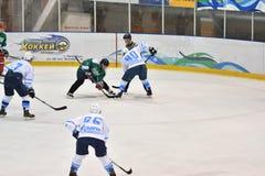 Orenburg, Russia - April 5, 2017 year: men play hockey Stock Photo