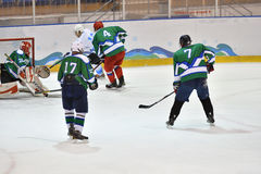 Orenburg, Russia - April 5, 2017 year: men play hockey Stock Photography