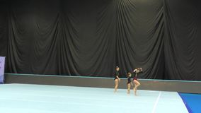 Orenburg, Russia, December 14, 2017 year: girl compete in sports acrobatics stock video footage