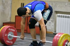 Orenburg, Russia, December 17, 2017 years: the boys compete in weightlifting. For the Cup and Championship weightlifting area stock photo