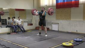 Orenburg, Russia, December 17, 2017 years: the boys compete in weightlifting