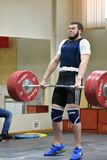 Orenburg, Russia, December 17, 2017 years: the boys compete in weightlifting. For the Cup and Championship weightlifting area royalty free stock photo